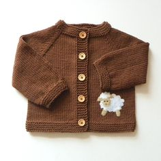 Brown baby set with white sheep Knit merino set hat and by Tuttolv