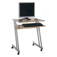 Media Beech #ComputerDesk/Trolley, 91757 • Z shape #PC trolley with wide top & sliding keyboard shelf • Slide-out keyboard shelf for easy access • Computer desk with all necessary features at a cheap price • Simple design from our german factory for function • Beech top & aluminium powder coated steel frame • Black plastic castors for easy relocation • At an affordable cost Dimensions: W60cm x D48cm x H75cm £29.95