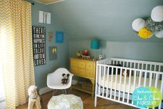 Chevron curtains, a great color scheme, *and* nursery decor made out of wine corks, I also love the old Mickey mouse, I would definitely incorporate old Mickey in a baby boys nursery Vintage Nursery Boy, Vintage Baby Boys, Yellow Nursery, Nursery Neutral, Boy Room, Kids Room, Yellow Dresser, Yellow Drawers, Yellow Curtains