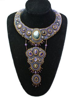 Bead embroidered necklace with amethysts and by KerensJewelry, $345.00