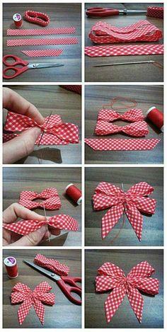 Shabby Chic Deko selber machen: Inspirierende Ideen und praktische Tipps - - New Ideas Ribbon Art, Diy Ribbon, Ribbon Crafts, Ribbon Bows, Ribbons, Bow From Ribbon, Ribbon Flower, Diy Hair Bows, Diy Bow
