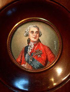 Antique Miniature Portrait Of French King Louis XVI