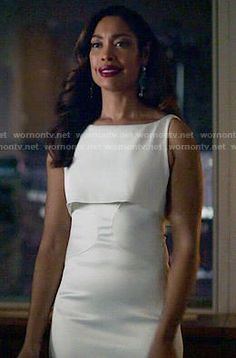 Jessica's white layered gown on Suits.  Outfit Details: http://wornontv.net/50329/ #Suits