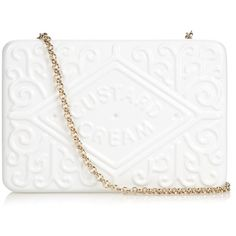 Anya Hindmarch Custard Cream brass clutch ($1,416) ❤ liked on Polyvore featuring bags, handbags, clutches, cocktail purse, white purse, chain handle handbags, cream purse and white crossbody purse