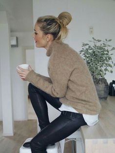 Loving black/camel/white combo paired with coated pantssss!