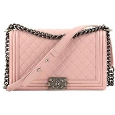 Preowned Chanel Boy Flap Bag Quilted Lambskin New Medium (5,975 CAD) ❤ liked on Polyvore featuring bags, handbags, beige, shoulder bags, chanel, pink handbags, shoulder bag purse, pink purse and beige purse