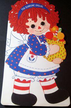"""HUGE 15"""" Used Vintage Greeting Card Die Cut Raggedy Ann w Sweet Treats Hallmark"""