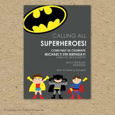 Custom super hero birthday party invitation - superman or batman.