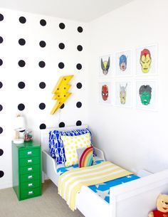 Project Nursery - Colorful and Graphic Big Boy Room Modern Superhero Toddler Room