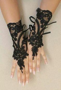 DIY -- Black gloves for halloween.