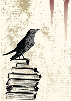 Illustration about A background grunge illustration with a Raven stood on a pile of old books for Halloween related use. Illustration of black, spooky, halloween - 10526887 Red Bird Tattoos, Black Bird Tattoo, Tattoo Bird, Teacup Tattoo, Grunge, Raven Bird, Red Raven, Crows Ravens, Bird Silhouette