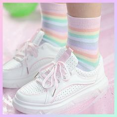 Buy Soft Pastel Kawaii Rainbow High Ankle Socks with a discount. Shop for Aesthetic Clothing & Accessories, eGirl Outfits, Soft Girl Apparel, Grunge & Vintage clothes, Artsy / Art Hoe Stuff Harajuku Fashion, Kawaii Fashion, Cute Fashion, Feminine Fashion, Ladies Fashion, Trendy Fashion, Fashion Ideas, Fashion Outfits, Style Hipster