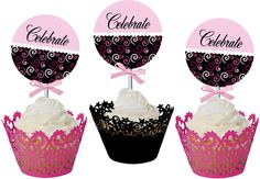 pink & black theme - free printable templates for cupcake toppers, napkin holders and other party ideas.