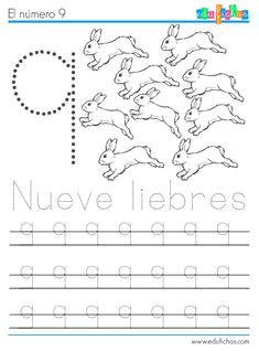Descarga e imprime la ficha para aprender el número 9. Fichas de los números para preescolar con dibujos de animales. descarga material fotocopiable gratis.