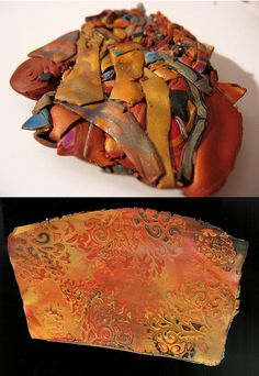Rebecca Watkins turns Scrap polymer clay into Faux Leather.  No directions, but great inspiration.