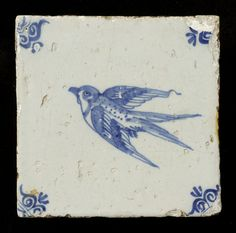 Tegel: Zwaluw 1625 - 1675 129 mm x 130 mm x 10 mm The Tiles Collection Delft Tiles, Blue Tiles, Mosaic Tiles, Tiling, Art Ancien, Antique Tiles, Vintage Tile, Handmade Tiles, Blue China