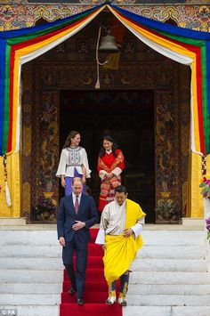 The Duke and Duchess of Cambridge with King Jigme Khesar Namgyel Wangchuck and Queen Jetsu...