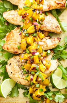 Citrusy marinated chicken and a flavorful grilled salsa, this Tequila Lime Chicken with Grilled Pineapple Mango Salsa is perfect for a weeknight dinner!