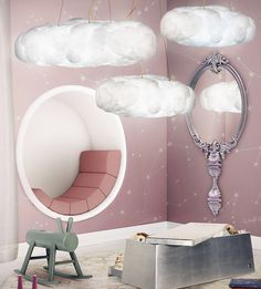 This cloud lamp has a light and sound system controlled by a mobile app or a remote with several options: choice of music, light effects, and sleep time