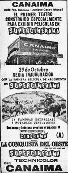 """Aviso publicitario, inauguración cine """" Canaima"""" Oct. 1964 ( mencionan entre paréntesis la ubicación del cine, como el antiguo """" Coney Island"""") Fuente: Luciano Patruno."""