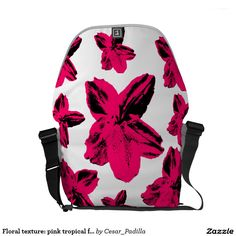 Floral texture: pink tropical flowers over white courier bag