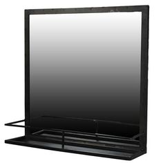 The AREOHome Lucas Iron Framed Mirror with Shelf features a sturdy metal frame and minimalistic iron framing around the functional bottom shelf. Mirror Tv, Mirror With Shelf, White Shiplap Wall, Dream Bath, Farmhouse Style Decorating, Farmhouse Decor, Ship Lap Walls, Glass Shelves, Home Decor Styles