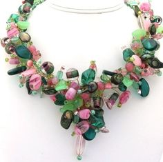 Preppy Green and Pink Necklace