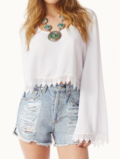White Crochet Trims Flare Sleeve Crop Top - Choies.com