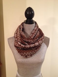 Norwegian Infinity Scarf in Coffee and Cream: $15.00   All of the Norwegian Infinity Scarves are made from double-lined fabric, with a soft sweater-like knit material on one side and a fleece on the inside of the scarf, adding an extra layer of insulation for cold winter days. Winter Day, Insulation, Infinity, Scarves, Cold, Cream, Coffee, Knitting, Fabric