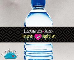 Bachelorette Party Water Bottle Labels {Instant Download} - Hangover Hydration Printable DIY - Decor for Bride - Bridal Party