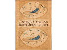 birth record for Anna B. Cochran, born July 6, 1804, - Miller's Antiques & Collectables Price Guide