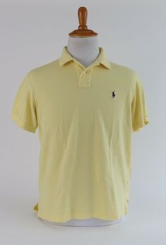 6c99002b Polo Ralph Lauren Men's Custom-Fit Polo Shirt Yellow Cream Size L 100%  Cotton