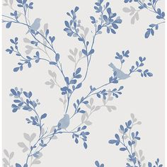 2704-22679 - Chirp Blue Birds and Trees Wallpaper - by Brewster ❤ liked on Polyvore featuring home, home decor, wallpaper, tree wallpaper, vine tree, floral home decor, watercolor trees and floral pattern wallpaper
