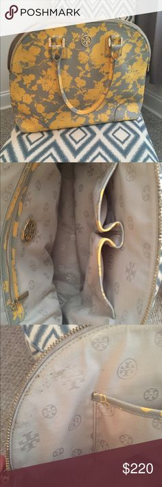 Tory Burch floral yellow/gray purse💛 Tory Burch bag. Floral print. Gray & yellow. Gold zipper & TB logo on front. Only used a handful of times! Still in great condition! Only marks that I have found our on the inside top of the bag. See third picture. Gorgeous bag! 💛💛 Tory Burch Bags Shoulder Bags