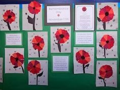 We have a public holiday on November for Remembrance Day so I always talk about Poppy Day the week before. My island home has. Remembrance Day Activities, Veterans Day Activities, Remembrance Day Poppy, Art Activities, Poppy Craft For Kids, Art For Kids, Grade 1 Art, Grade 2, School Displays