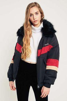 e0ebd6955ab98 Black Chevron Faux Fur Collar Ski Jacket