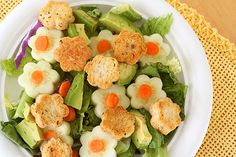 Flower shaped croutons--cut out of loaf bread, brush with olive oil and sprinkle with Italian seasoning.  Bake 300 for 30 minutes, flipping them after 15.