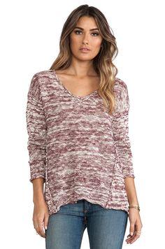 dae5ba1514 Michael Stars - Purple Marl Long Sleeve V Neck Hilow Sweater in Burgundy -  Lyst