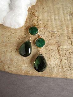 Emerald Earrings Green Tourmaline Double Drops by julianneblumlo, $68.00
