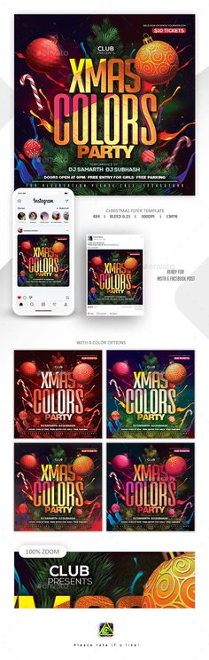Christmas Color Party Flyer — Photoshop PSD #party flyer Xmas Colors, Christmas Colors, Party Flyer, Nye Party, Christmas Flyer Template, Free Park, Free Instagram, Premium Wordpress Themes, Psd Templates