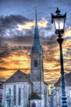 Fraumünster Zurich at Sunset ~ The Fraumünster Church in Zurich is built on the remains of a former abbey for aristocratical women which was founded in 853 by Louis the German for his daughter Hildegard. Wikipedia ...Address: Münsterhof 2, 8001 Zurich, Switzerland