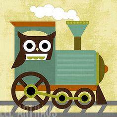 70 Owl and Train (Lee ArtHaus) Tags: nature train locomotive trainart childrenart owlart boyart nurseryart retroowls leearthaus