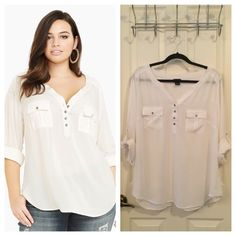 Torrid Plus Size White Henley Button-Up Blouse NOTE: Washed but never worn. Comfy and versatile Henley top with chrome buttons. 100% rayon torrid Tops Blouses