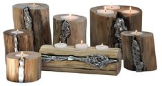 Portacandele da tavolo Icaro  Candle holder Discrete light corners with a personality that embodies the mistery of nature. aluminum melted on wood  #LivyngEcodesign #naturalwood #aluminum