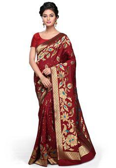 Maroon Art Banarasi Silk Saree with Blouse: SCK290
