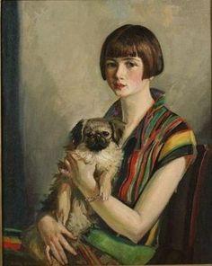 Girl with a Dog by Boris Grigoriev (1886-1939)