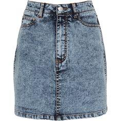 Tibi     Acid Denim Mini Skirt ($295) ❤ liked on Polyvore featuring skirts, mini skirts, grey, short denim skirts, high-waisted skirts, high-waist skirt, gray skirt and high waisted short skirts