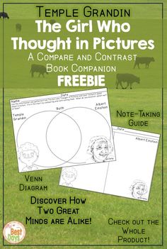 Are you interested in discovering how great minds think alike?  Try out The Girl Who Thought in Pictures Compare and Contrast Book Companion Freebie!  This tool can be used to discover how Einstein and Grandin are similar.  And they are, in so many ways!  Then, check out the full product over at The Best Days!