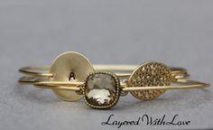 Smoky Topaz Bangle Set- Gold Bangle Bracelet Set- Personalized Custom Bangle- Initial Jewlery- Bridesmaids Gift Ideas