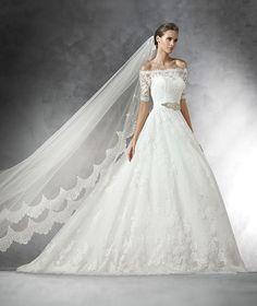 Pronovias 2016 | Vestido de noiva - Modelo Primosa, com renda e tule petit pois